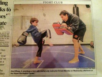 Front page Aspen Times during Aspen MMA Kids Class